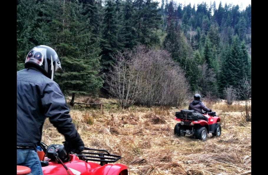 Riding our ATVs at the mouth of Powderhorn Bay